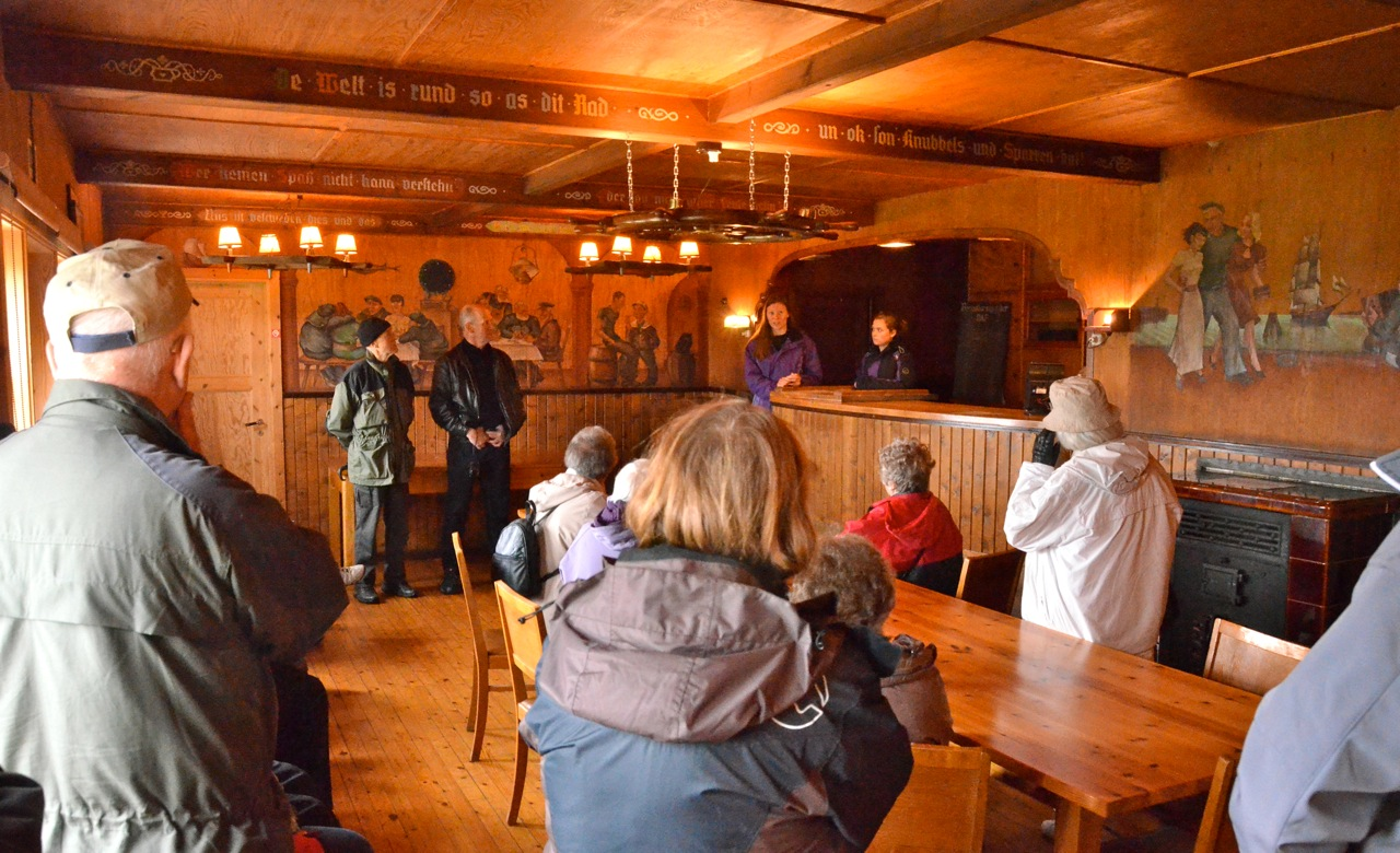 The Nordberg fort, from World War 2, is protected as cultural heritage. We are presented with information about it in the well preserved mess hall. Its decor is a special mixture of German and Norwegian culture. Photo: Torbjørn Bøe.