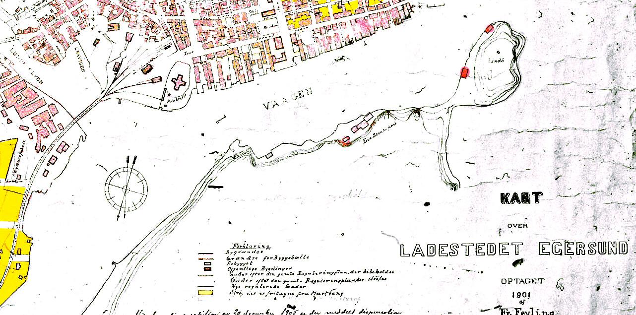 Utsnitt av bykart over ladestedet Egersund i 1901