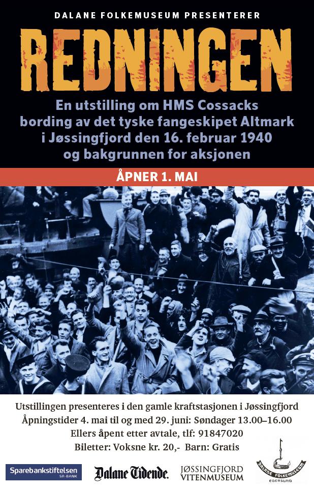 Plakat for utstillingen om Altmarkaffæren i Jøssingfjord